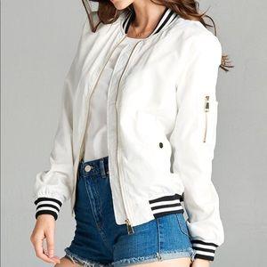 Jackets & Blazers - White Varsity Stripe Bomber